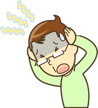 しめつけられる頭痛に悩んでいるイラスト